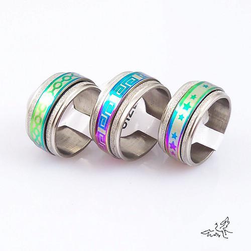 10mm Spinner Band Anneau Multicolore Acier Inoxydable Anneaux De Mode Bijoux Mixte