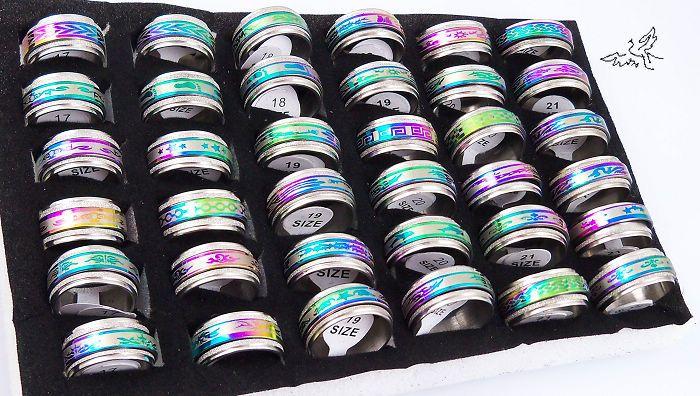 10mm 회 전자 밴드 반지 여러 가지 빛깔의 스테인레스 스틸 반지 패션 쥬얼리 많은 혼합