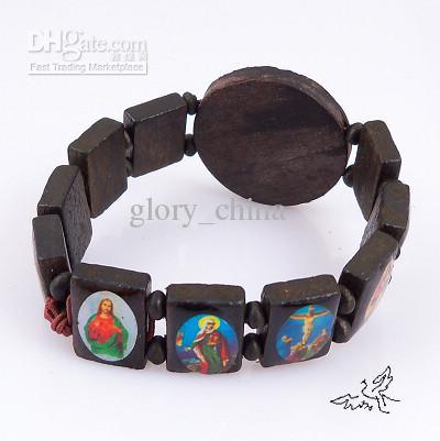 Bracelet religieux en bois Maria et Jésus Bracelets Bracelet extensible chapelet Bijoux religieux