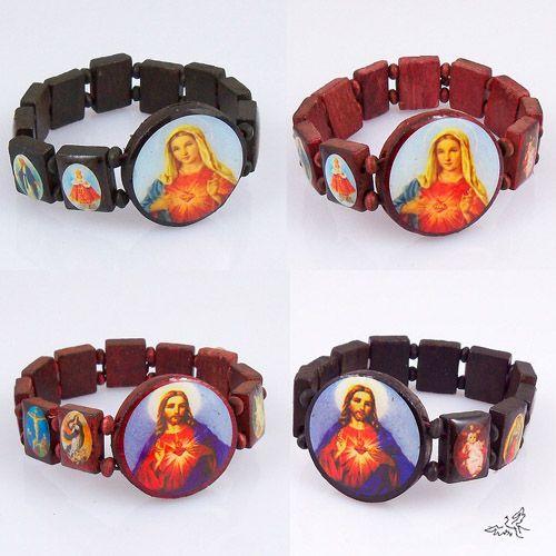 Pulsera religiosa de madera Maria y Jesús Pulseras Rosario Pulsera elástica Joyería religiosa