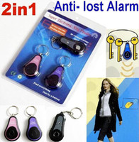 Wholesale Wireless Rf Electronic Locator - 2 In1 Wireless RF Electronic Key Finder Locator Key Chain Anti- lost Alarm 1transmitters 2 Receivers