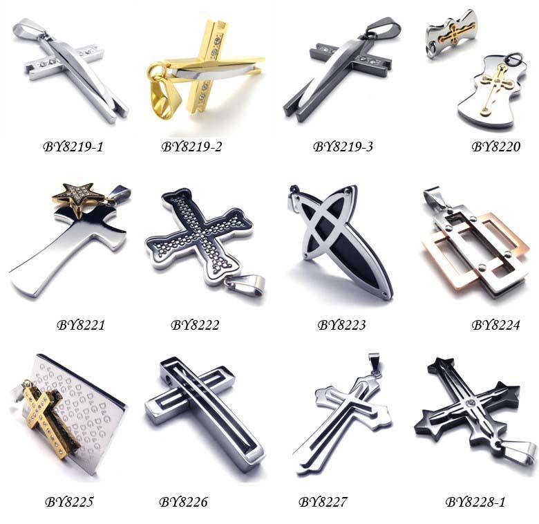 Beaucoup de bijoux de mode en acier inoxydable 316L pendentifs Bible hommes pendentifs collier croix ordre