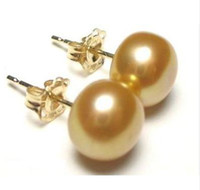 Wholesale Huge Flowers - HUGE AAA 11-12MM SOUTH SEA golder PEARL EARRING 14K