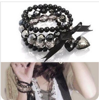 Asian & East Indian palace strand - New women lady palace retro black heart bowknot ribbon multilayer pearl bead bracelet hand chain bangle