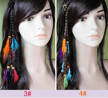 hotsale handmade crochet braid headband hair feather extensions hair clips