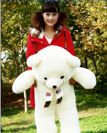 Wholesale Giant Teddy Bears Free Shipping - Free Shipping EMS Christmas Gifts 1.2m 1m 0.8m Teddy bear Giant Soft Plush Stuffed Teddy Bear Wholesale Retail