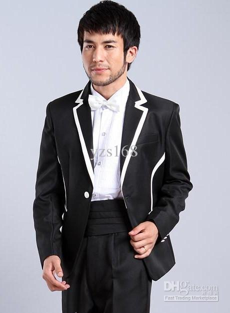 Black With White Line Man Dress Suit Set Jacket Pants Bowtie Paper ...