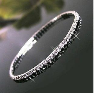 Bracelete de cristal shinning de prata 6,5 * 0.3 * 0.1cm do bracelete da pulseira da pulseira