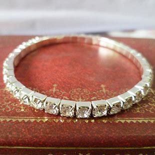 Srebro Shinning Crystal Bransoletka Bransoletka Mankiet 6.5 * 0,3 * 0,1 cm Regulowany