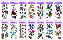 Body Art Face Paint Canada - 10 pcs lot Temporary Tattoos Tattoo Stickers For Body Art Painting Waterproof Mix Designs 170*100 mm C1-27