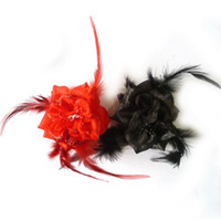 Wholesale flower hair clips brooch resale online - Factory price brooch pin jewelry flower hair clip royal feather hair clip flower brooches