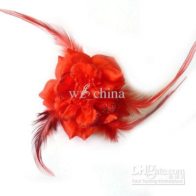 새로운 도착! 브로치 핀 보석 꽃 머리 클립 로얄 깃털 머리 클립 꽃 브로치