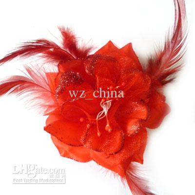 Preço de fábrica! Broche pin flor jóias grampo de cabelo pena real grampo de cabelo broches de flores