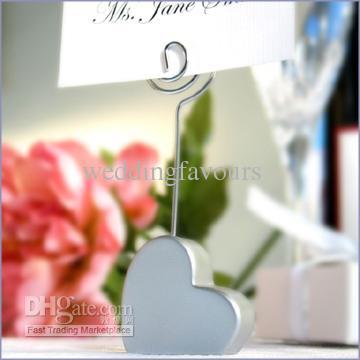 Livraison gratuite! / Argent Coeur Forme Place titulaire de la carte Faveurs De Mariage, place carte clip favors, livraison gratuite