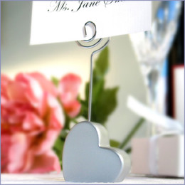 Wholesale Shaped Place - Free Shipping! 20pcs lot Silver Heart Shape Place card Holder Wedding Favors,place card clip favors,free shipping
