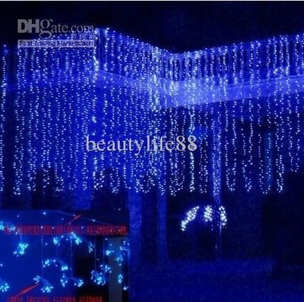 Bröllopsinställningslampan, gardinlampan dekoration semesterlampor 800 ledde lång 8m hög 3m 110V-220V