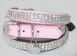 Wholesale Large Pink Rhinestone - Leather Bling Pet collar with Rhinestone Heart Rhinestone Dog Collar 100 pcs lot,