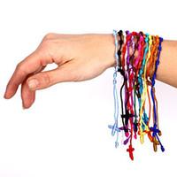Wholesale Decenarios Bracelets - Mix color Religious bracelet hand rope Hand Made Knotted Rosary Bracelets Pulseras Decenarios 100pcs