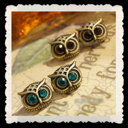 Wholesale Owl Ring Retro - 50PCS=25PR New earrings stud rhinestone owl new vintage antique gold retro earrings cheap ear ring