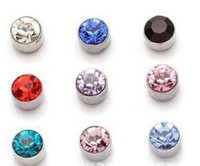 Wholesale Magnetic Earring 6mm - Wholesale -fashio mix color Crystal Magnetic earrings 6mm mixed order men's earrings 20pairs lot CS
