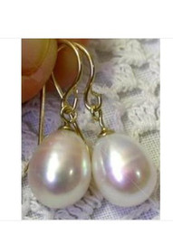 Wholesale Natural Pearl Dangle Earrings - FINE HUGE 15.5X11MM NATURAL AKOYA WHITE PEARL EARRING 14K YG MARKED