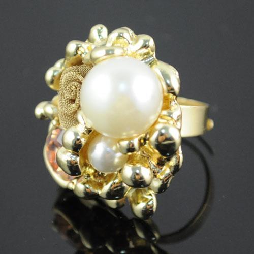 2012 Mode Nieuwe Collectie Parel Charm Vintage Bloem Stijl Design Gold Rings Sieraden, RN-489