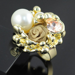 Wholesale New Arrival Jewellery Set - 2012 Fashion New Arrival Pearl Charm Vintage Flower Style Design Gold Rings Jewellery,RN-489