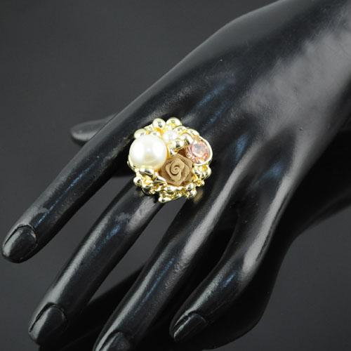 2012 Fashion New Arrival Pearl Charm Vintage Flower Style Design Gold Rings Jewellery,RN-489