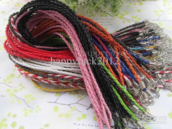 Partihandel3mm 17-19inch Justerbar Assorted Color Faux Flätat läder Halsbandsledning /