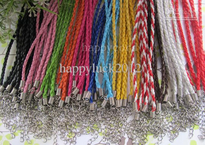 Wholesale3mm 17-19inch регулируемый ассорти цвет искусственный плетеный кожаный ожерелье шнур 100 шт. / лот