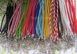 Wholesale Braiding Leather Necklaces - Wholesale3mm 17-19inch Adjustable assorted Color Faux Braided leather necklace cord 100pieces lot