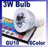 Wholesale Cheap Remote Led Light Bulb - wholesale cheap 3W GU10 E14 E27 MR16 RGB +IR Remote Control LED Bulb Light via FEDEX