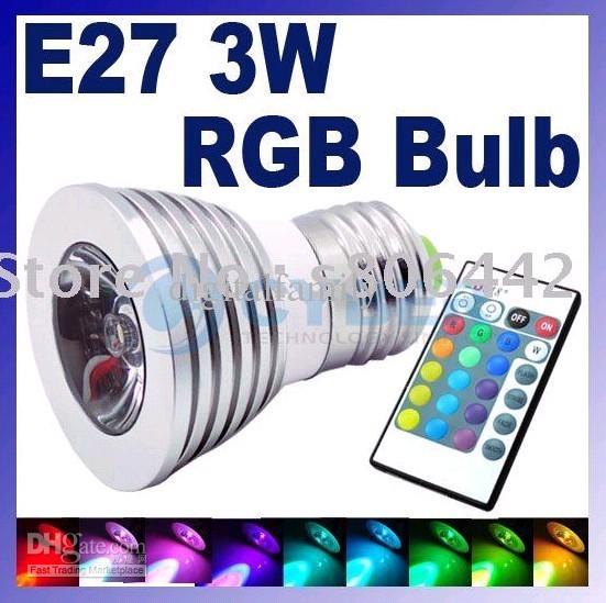 저렴 한 새로운 LED 3W RGB 스포트 라이트 E27 E14 GU10 원격 제어 RGB 16 색 플래시 LED 스포트 라이트 벌브 램프