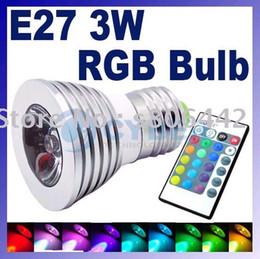 Wholesale E27 Flash Lamp - Cheap brand new LED 3W RGB spotlight E27 E14 GU10 Remote Control RGB 16 colors Flash LED Spot Light BULB LAMP