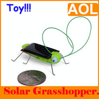 Wholesale Solor Powered - Novelty Mini Solar Power Robot Insect Bug Locust Grasshopper Toy kid Gadget Gift bugs Solor toys5PCS