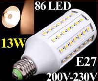 ingrosso 13w bulbo di mais-1550LM 200V-230V 13W E27 Lampada LED 86 SMD 5050 LED Corn Light Lampada LED Lampadina Illuminazione Bianco caldo libero