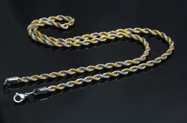 10 stks Groothandel Mensboys Rvs Goldsilver 2.4mm Charmant Touw Ketting 21.6 ''
