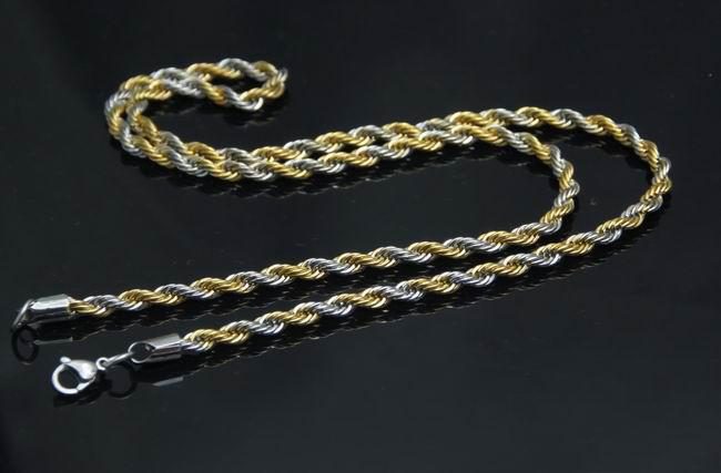 10pcs wholesale mens&boys Stainless steel gold&silver 2.4mm charming rope Chain Necklace 21.6''