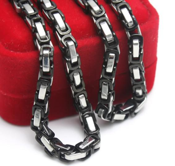 5pcs /ロット、ファッションメンズブラックシルバーステンレス鋼5mmビザンチンチェーンネックレス21.6''coolギフト