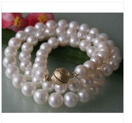 Wholesale white pearls buy - best buy 9-10 mm genuine white fresh water akoya pearl necklace 16