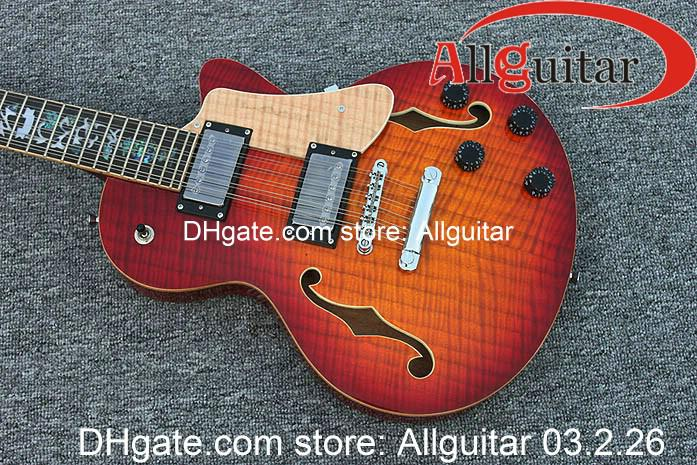 12 strings guitar cherry red flower inlay fretboard semi hollow body guitar china guitar cheap. Black Bedroom Furniture Sets. Home Design Ideas