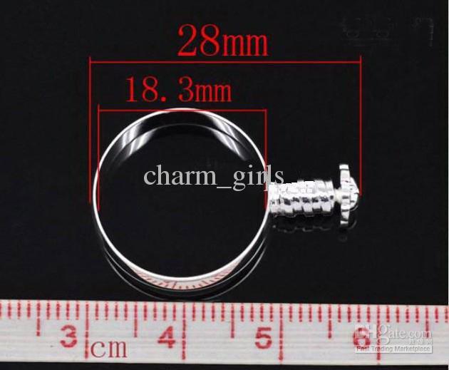 Gorąca sprzedaż 60 sztuk Rings Charm Koralik Fit Europejski Szkło / Kryształowy Koralik Rozmiar 7,8,9 z śrubą