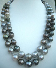 "Wholesale Strands Tahitian Black Pearls - 35""11-14MM TAHITIAN NATURAL BLACK GRAY PEARLSNECKLACE 14K"