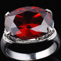 Wholesale Red Solitaire Garnet Ring - Garnet Red Cubic Zirconia Silver Rings for Lady Classic Style Fashion Jewelry Accessories Sizes & Colors Selectable R023