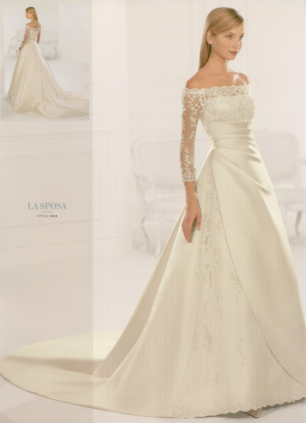 off the shoulder wedding dresses with 3/4 sleeve