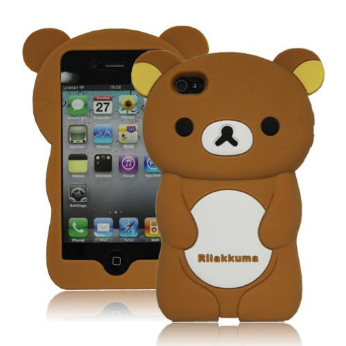 20pcs/lot Hot Sale Cute 3D Rilakkuma Bear Silicone Case With Package Back Civer for Apple iPhone 4 4G 4S
