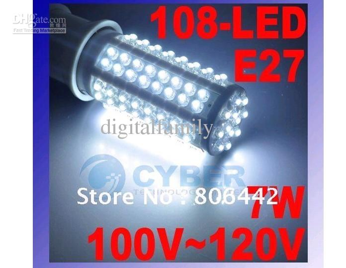 E27 108 LED-maïs lichtdraad 360 lamp 7W 3000-3500K koud wit energiebesparende lamp gratis verzending