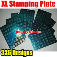 xl resim baskısı damgalama plakası toptan satış-336 Tasarımlar XL Damga Baskı Plakası Fransız Desenli Çivi Sanatı Büyük Şablon DIY