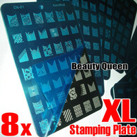 Wholesale Stamping Plate Xxl - XL Nail Stamp Stamping Image Plate French & Full Design Nail Art Big XXL Print Stencil Template DIY