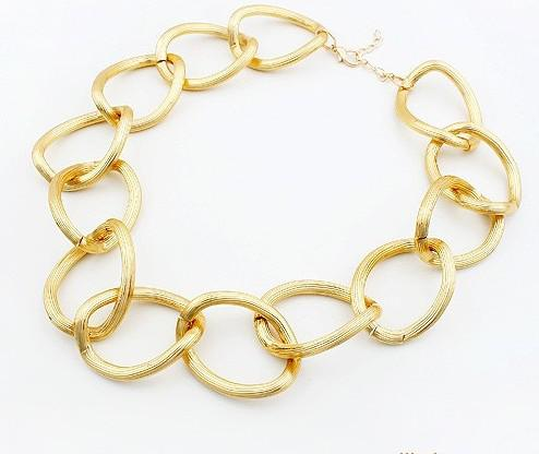 Gold necklace round ring choker necklace Scrub European jewelry collar necklace 20pcs/lot